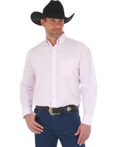 Wrangler Men's Tough Enough To Wear Pink Small Plaid Long Sleeve Western Shirt , Pink, hi-res