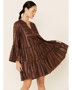 Elan Women's Metallic Aztec Print Dress, Brown, hi-res