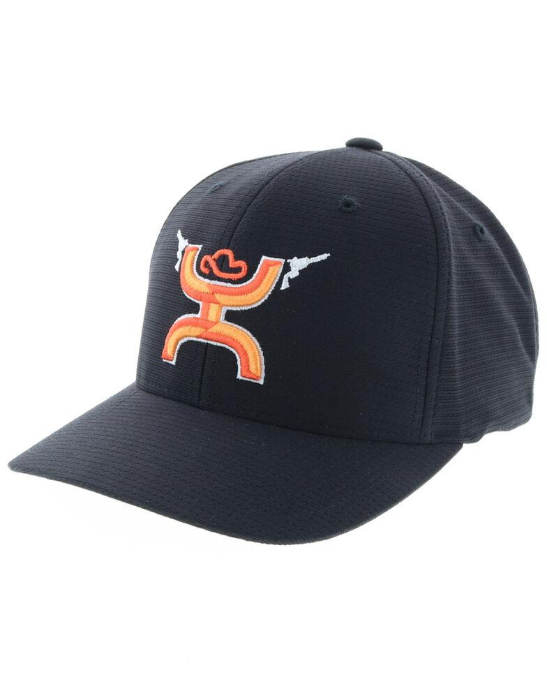 HOOey Men's Gunner Orange logo Cap, Black, hi-res