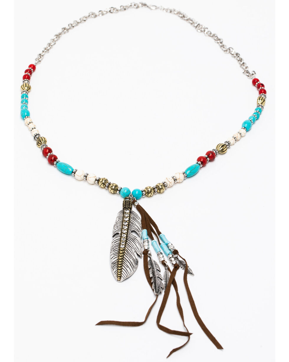 Shyanne Women's Summer Escape Beaded Over Sized Leather Necklace, Silver, hi-res