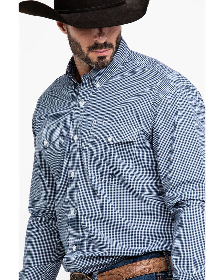Roper Men's Amarillo Meadow Mini Check Plaid Long Sleeve Western Shirt , Blue, hi-res
