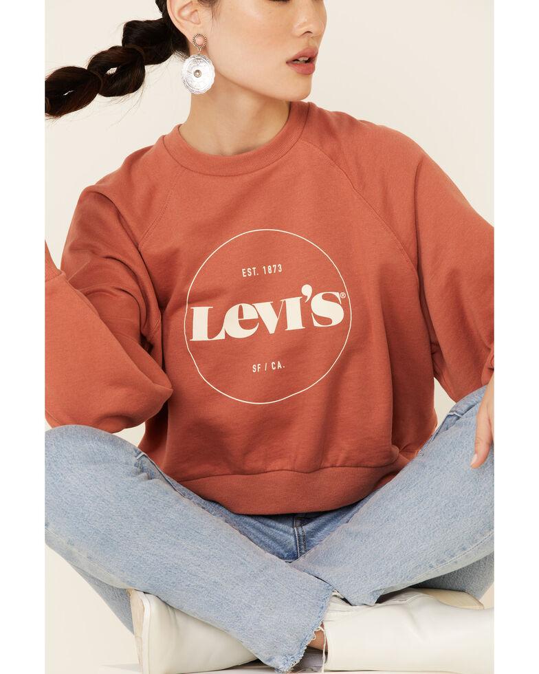 Levi's Women's Mauve Circle Logo Pullover Sweatshirt , Mauve, hi-res