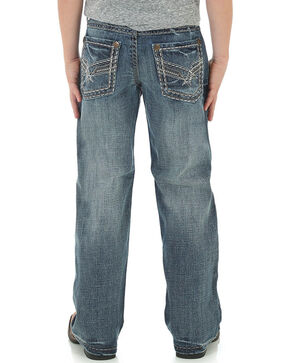 Wrangler Rock 47 Boys' Blue Slim Fit Comfort Stretch Jeans - Boot Cut , Blue, hi-res