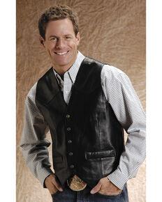 Roper Lamb Leather Black Vest - Big & Tall, Black, hi-res