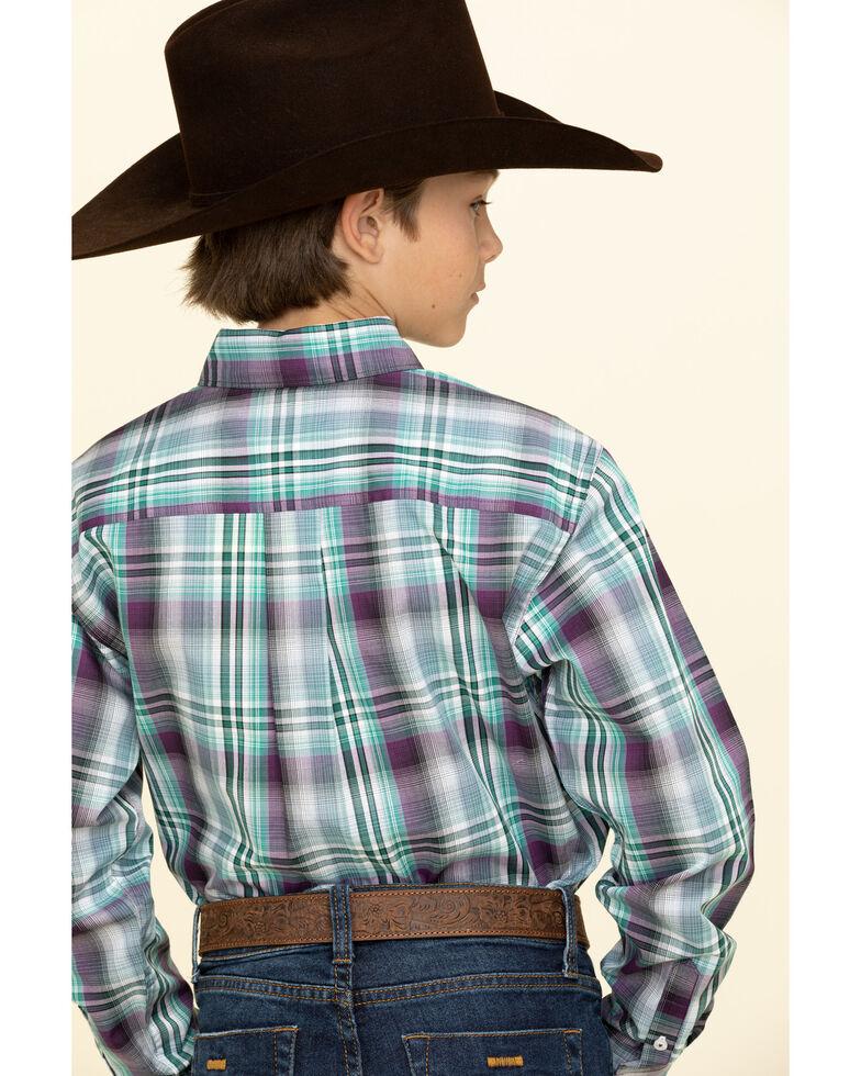 Cinch Boys' Multi Plaid Button Down Long Sleeve Western Shirt , Multi, hi-res