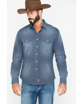 Wrangler Retro Men's Rail Stripe Long Sleeve Western Shirt, Indigo, hi-res