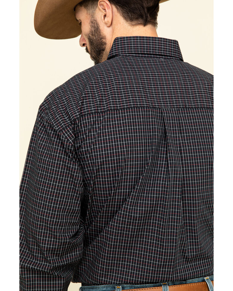 George Strait By Wrangler Men's Black Small Plaid Long Sleeve Western Shirt , Black, hi-res
