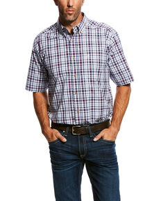 Ariat Men's Obispo Med Plaid Short Sleeve Western Shirt - Big & Tall , White, hi-res