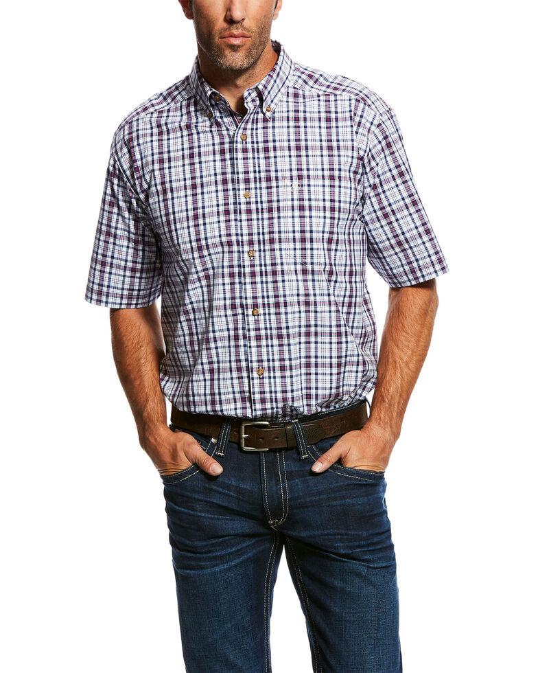 Ariat Men's Obispo Med Plaid Short Sleeve Western Shirt - Big & Tall , White, hi-res