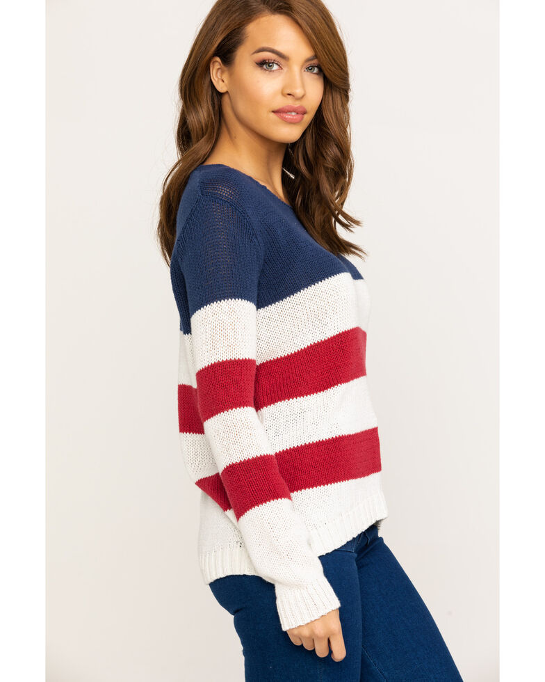 Ocean Drive Women's Americana Stripe Sweater, , hi-res