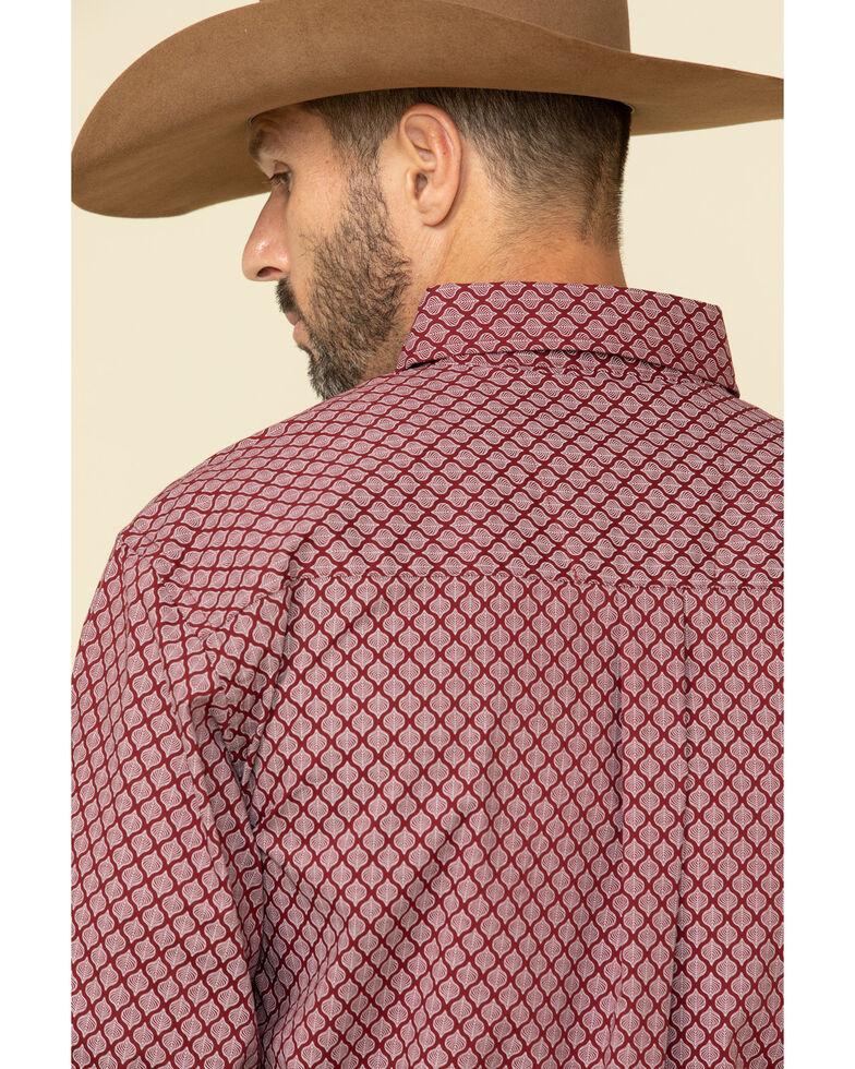 Wrangler Men's Classic Burgundy Geo Print Long Sleeve Western Shirt , Burgundy, hi-res
