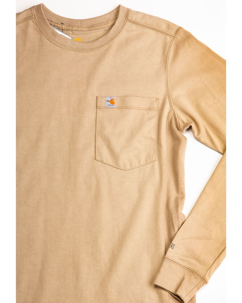 Carhartt Women's Force Crewneck Long Sleeve Shirt, Beige/khaki, hi-res