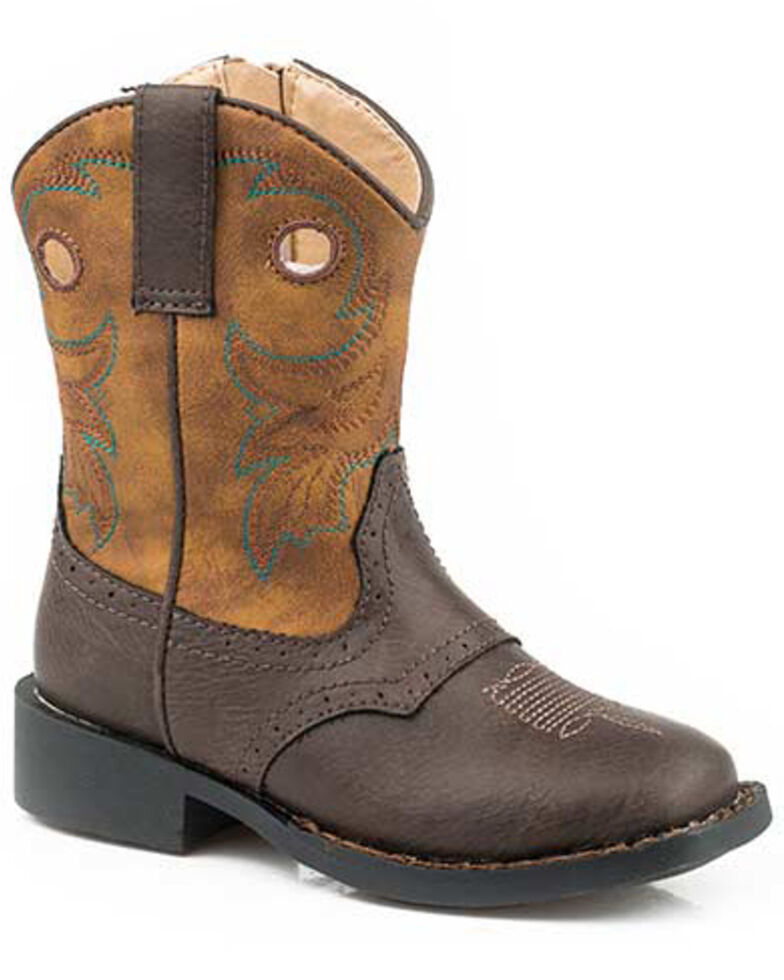 Roper Boys' Daniel Western Boots - Round Toe, Brown, hi-res