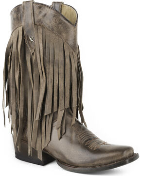 Roper Women's Brown Tall Fringe Western Boots - Square Toe , Brown, hi-res