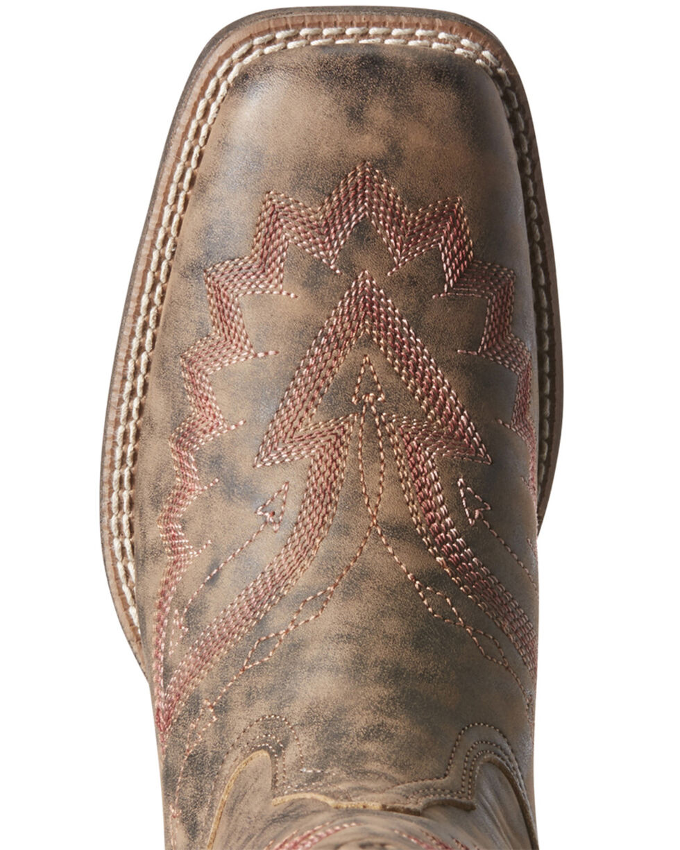 Ariat Women's Round Up Santa Fe Western Boots - Wide Square Toe, Brown, hi-res