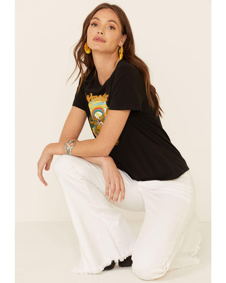 Wrangler Modern Women's Retro Desert Rainbow Graphic Short Sleeve Tee , Black, hi-res