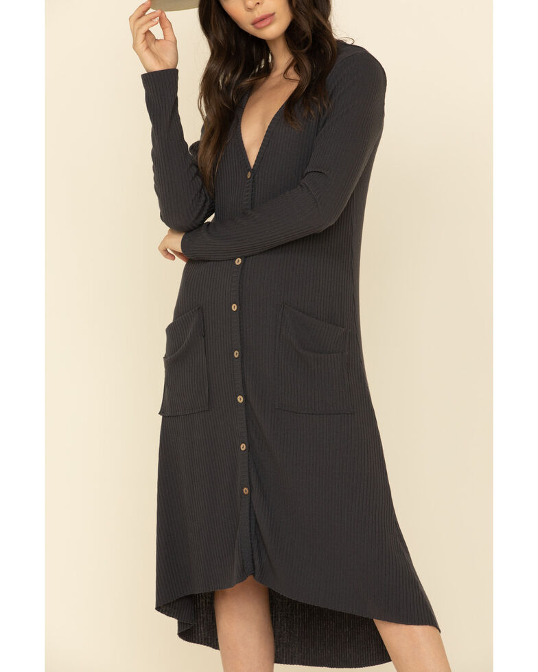 By Together Women's Ribbed Button Front Duster Cardigan , Charcoal, hi-res