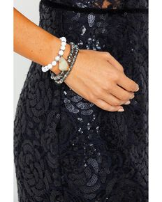 Idyllwind Women's Up At Dawn White Turquoise 3 Bracelet Stack, Silver, hi-res