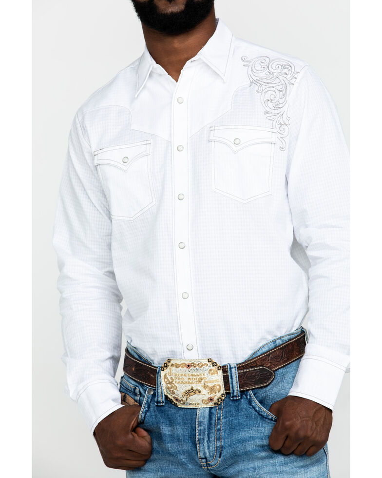 Rock 47 By Wrangler Men's White Solid Embroidered Long Sleeve Western Shirt , White, hi-res