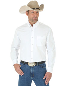 George Strait by Wrangler Men's White Solid Long Sleeve Western Shirt , White, hi-res