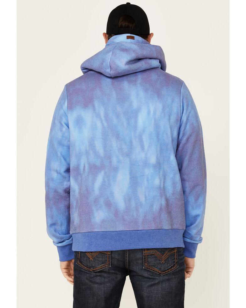 Wanakome Men's Blue Tie Dye Olympus Hooded Sweatshirt , Blue, hi-res
