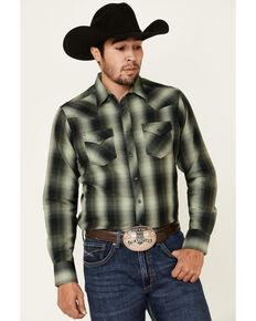 Wrangler Retro Men's Green Large Plaid Long Sleeve Western Shirt , Green, hi-res
