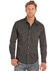 Rock & Roll Denim Men's Poplin Floral Print Long Sleeve Western Shirt , Charcoal, hi-res