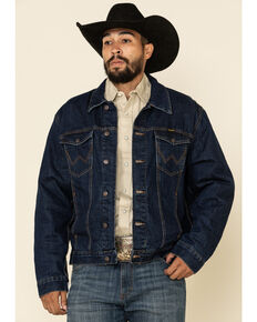 Wrangler Men's Faded Indigo Plaid Lined Denim Jacket , Blue, hi-res