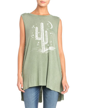 Miss Me Women's Cactus Lace-Up Tee, Green, hi-res