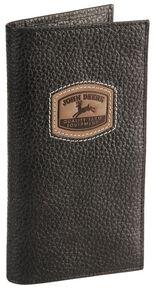 John Deere Leather Checkbook, Black, hi-res