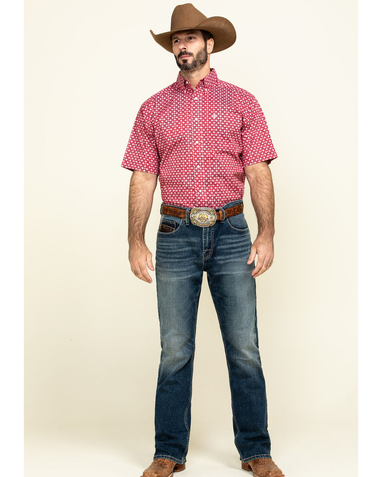 Ariat Men's Nedmond Stretch Geo Print Short Sleeve Western Shirt , Red, hi-res