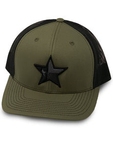 Oil Field Hats Men's Olive Texas Star Embroidered Mesh Ball Cap  , Olive, hi-res