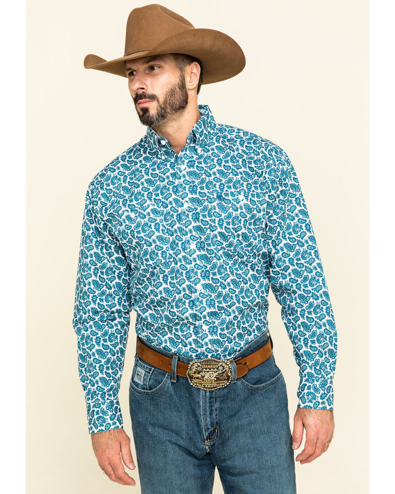 George Strait By Wrangler Men's Teal Small Paisley Print Long Sleeve Western Shirt , Teal, hi-res