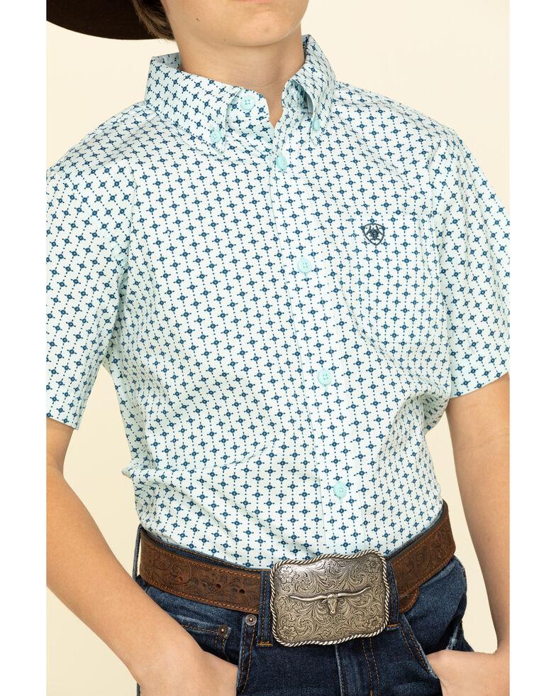Ariat Boys' Reedley Stretch Dot Geo Print Short Sleeve Western Shirt , Turquoise, hi-res