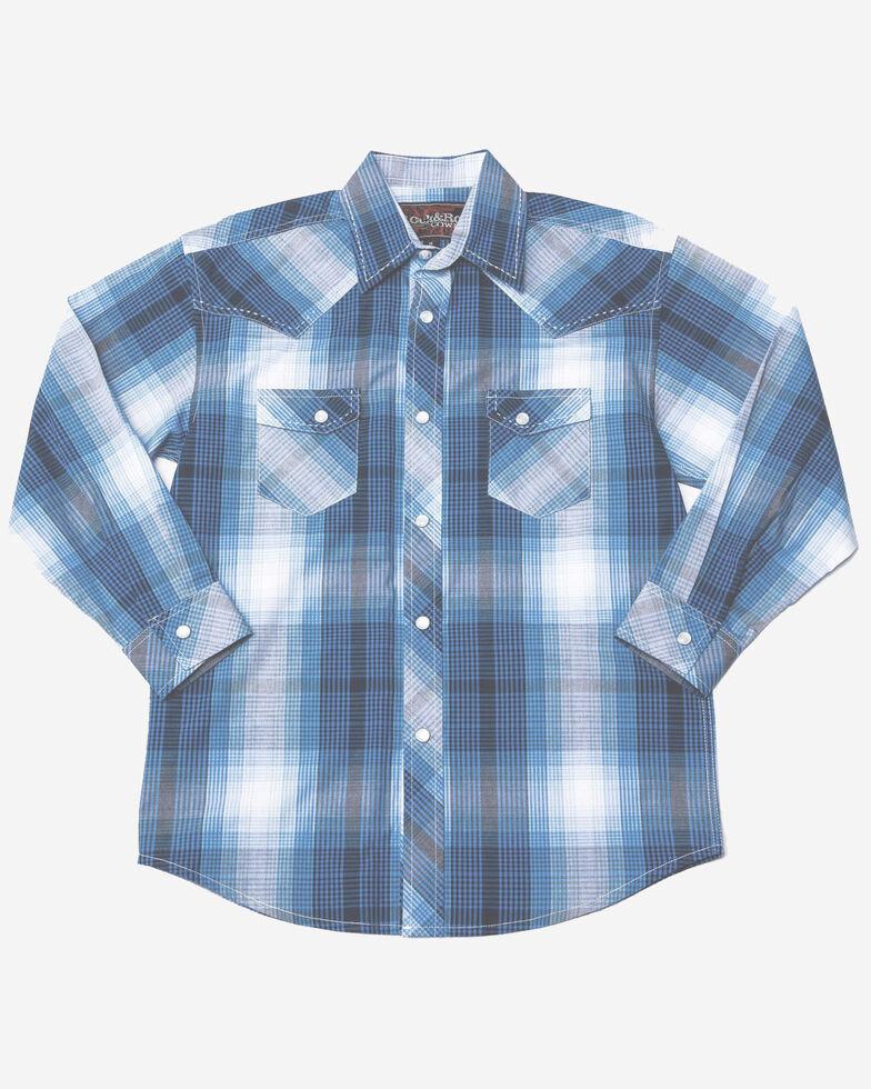Rock & Roll Cowboy Boys' Poplin Plaid Long Sleeve Western Shirt , Blue, hi-res