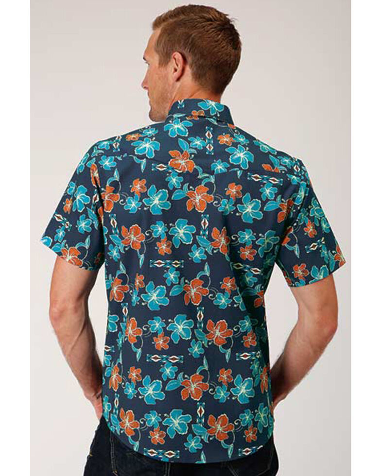Roper Men's West Made New Tropical Print Short Sleeve Western Shirt , Blue, hi-res