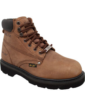 "Ad Tec Men's Full Grain Oiled Leather 6"" Work Boots - Steel Toe, Brown, hi-res"