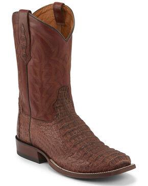 Tony Lama Men's Cognac Hornback Caiman Western Boots - Square Toe , Black, hi-res