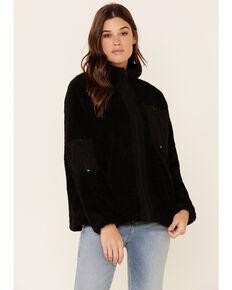 Very J Women's Sherpa Lined Corduroy Zip-Front Jacket , Black, hi-res
