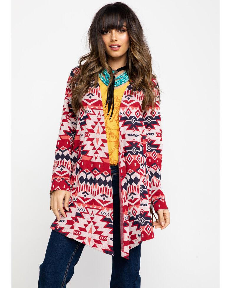 Ariat Women's Red Aztec Head Chief Sweater, Multi, hi-res