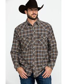 Resistol Men's Bachman Small Plaid Long Sleeve Western Shirt , Brown, hi-res