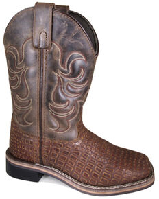 Smoky Mountain Boys' Reptile Western Boots - Square Toe, Brown, hi-res