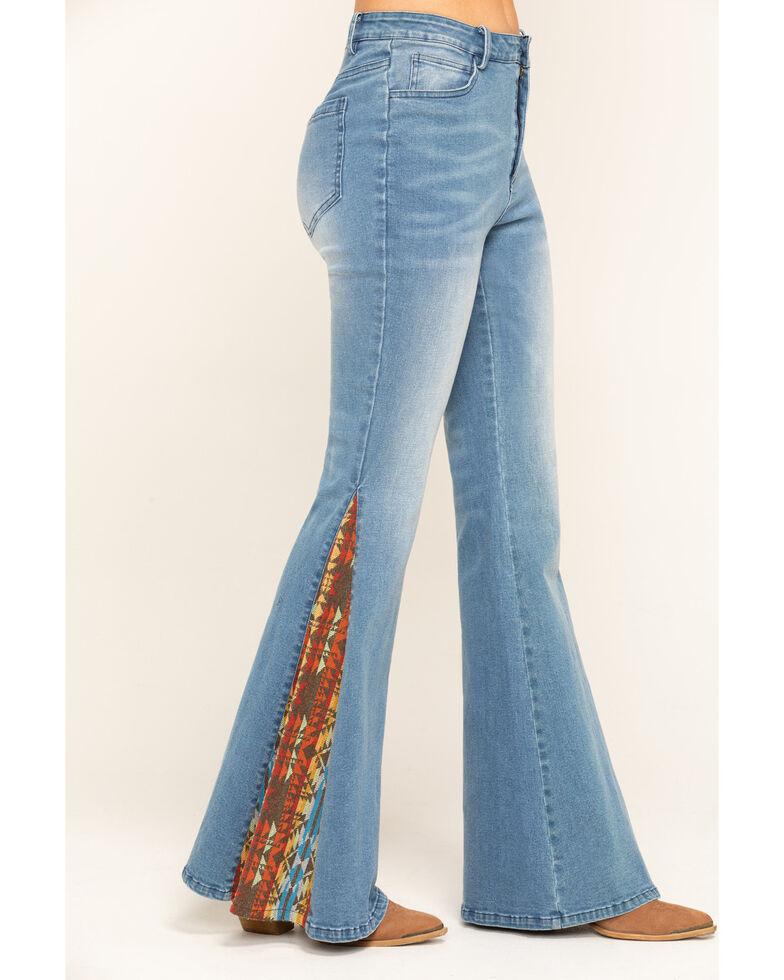 Chrysanthemum Women's Medium Mid-Rise Aztec Inset Flare Jeans , Blue, hi-res