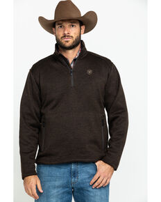 Ariat Men's Caldwell 1/4 Zip Fleece Sweater Jacket, Brown, hi-res