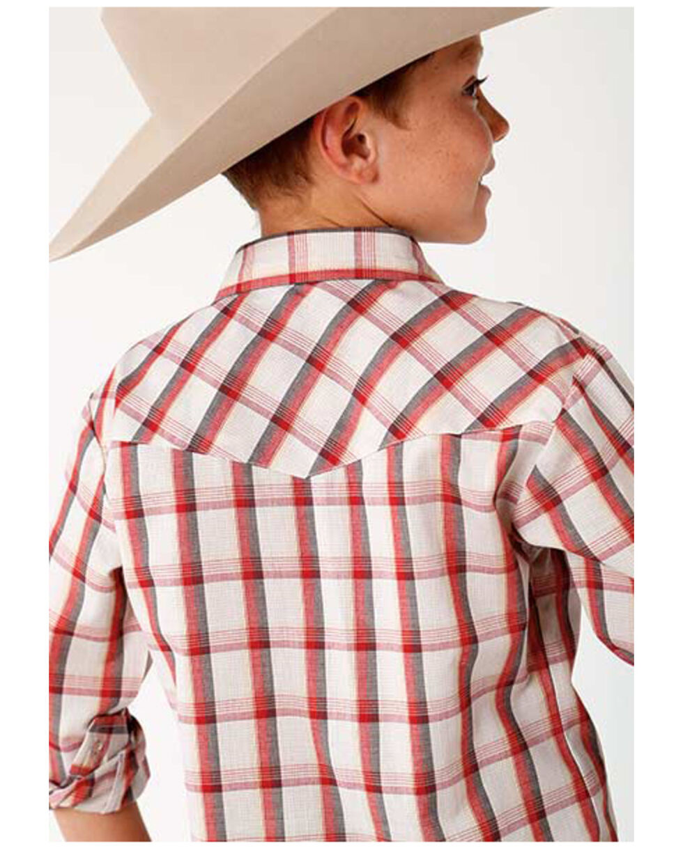 Roper Boys' Red Plaid Long Sleeve Western Shirt , Red, hi-res
