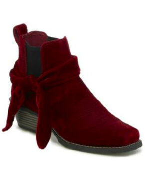 Justin Women's Chellie Velvet Western Booties - Square Toe, Red, hi-res