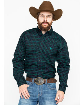Panhandle Men's Peached Poplin Long Sleeve Western Shirt, Green, hi-res