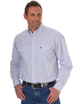 George Strait by Wrangler Men's Purple Plaid Long Sleeve Western Button Down Shirt, Purple, hi-res