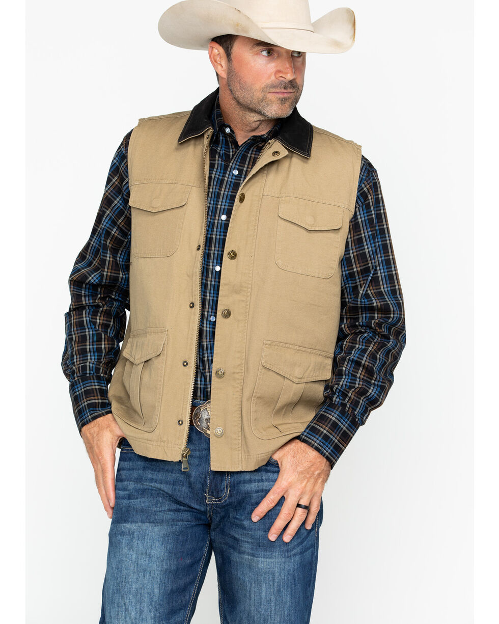 Cody James Men's Ram Canvas Vest, Tan, hi-res