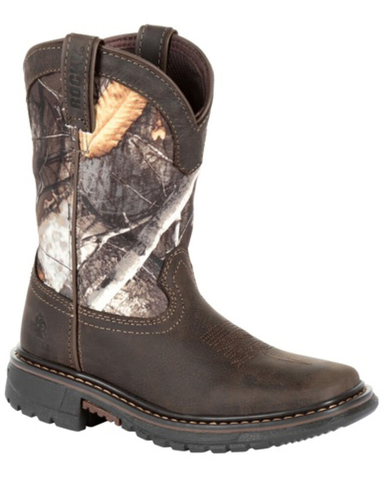 Rocky Boys' Ride FLX Waterproof Western Work Boots - Soft Toe, Brown, hi-res